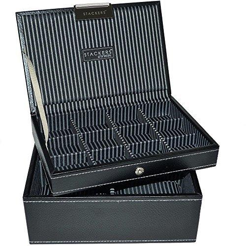 LC-Designs-Stackers-Joyero-para-gemelos-y-relojes-de-pulsera-2-bandejas-tamao-pequeo-color-negro