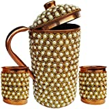 Rastogi Handicrafts Pure Copper Jug - 2 Glass Drinkware Set Dinnerware Tableware Pitcher Outer Decorated