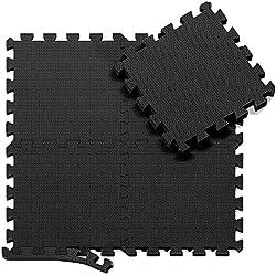 Tapis de protection de sol - 18 dalles en mousse sans BPA + bordures | Matelas puzzle pour matériel fitness, gym, musculation - Salle de sport, garage | Isolation contre coups, bruits, éraflures