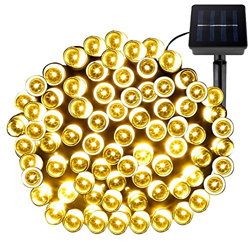 Solar Lichterkette außen Dekoration Easternstar 12m 100 LED mit 8 Modi Garten Beleuchtung Wasserdicht für innen Weihnachten Party Hochzeit Haus Terrasse Baum Balkon warmweiß