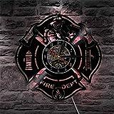 OOFAY Clock@ Wanduhr aus Vinyl Schallplattenuhr Upcycling 3D Feuer Thema (LED mit Fernbedienung) Kreativität Design-Uhr Wand-Deko Familien Zimmer Thema Schwarz/Durchmesser 30Cm