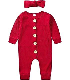 Edjude Newborn Baby Boy Baby Girls Romper Sleepsuit Long Sleeve Hooded Crewneck Botton-Down Zipper Unisex Toddler One Piece 0-24 Months