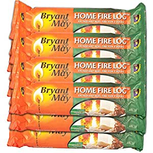 12 X Bryant & May Instant Lighting Smokeless Firelog. Approved by Holiday Parks. Burns for 2 Hours & Tigerbox Safety Matches