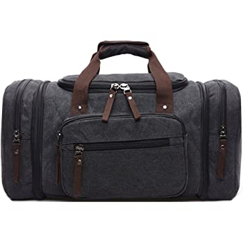 ZYSY Unisex Canvas Holdall Weekend Bag Overnight Bag Travel Duffle Bag  Carry-on Luggage Bag for Men and Women (Black) ddfe806ba5