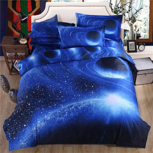 Price comparison product image Stillshine 3D Printing Nebula Galaxy Stars Pattern Bedding Quilt Duvet Cover Set (Single Size, Mysterious Cosmos E)