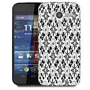 Snoogg White Floral Black Designer Protective Phone Back Case Cover For Moto X / Motorola X