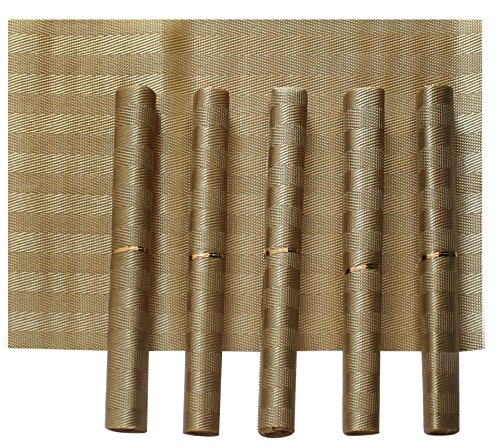 Tiedribbons&Reg; Pvc Placemats for Dining Table Set of 6 (30 cm X 45 cm)(Gold Dusk)