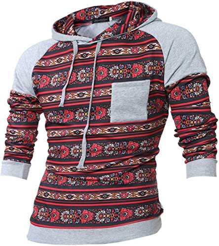 jeansian Herren Casual Ethnic Style Hooded Pullover Hoody Pocket Hoodies Sweatshirt Sports Top 88G8 LightGray
