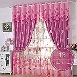 Nclon Prinzessin-Stil Vorhänge gardinen,Licht Blockiert Thermisch Isoliert UV Schutz Voile Romantisch Vorhänge gardinen-Rosa 1 Panel W300cm*D270cm