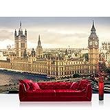 Fototapete 254x184 cm PREMIUM Wand Foto Tapete Wand Bild Papiertapete - London Tapete Skyline Big Ben Fluss Brücke sepia - no. 1409