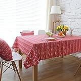 GAOYU Weihnachtsbaum-beiläufige Speisetisch-Tischdecke Rote pastorale gestreifte Baumwolle und Leinen-Quadrat Tablerectangular Dinning Tischdecke-Abdeckung Kaffeetisch-Stoff,90 * 90cm