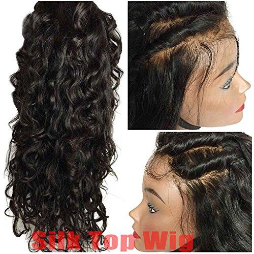 "Helene Hair Natural Wave 4x4 superiore di seta del merletto Capelli vergini brasiliani Parrucche anteriori del merletto con i capelli del bambino 130% Densità ( 14"")"