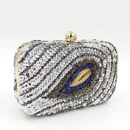 Pochette Chirrupy Chief®, con paillette, motivo: piume di pavone, borsa per la sera, con diamantini. Silver