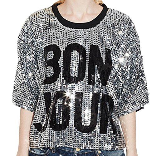 Donna Tops Bling Lustrino Paillettes Corta T-Shirt Bluse Camicetta Magliette Verde Taglia unica Argento