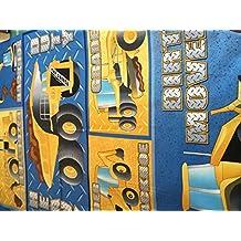 Excavadora construcción del panel de tela del panel de tela–60x 110cm–Azul amarillo niños tela–NU033–100% algodón