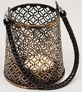 Laterne Windlicht Metall Kupfer Bronze- Look mit Tragegriff aus Kunstleder Antik