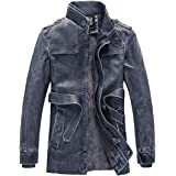 Man&Jenensy Men Thicken Leather Suede Jackets Fleece Lined Stand Collar Long Coats Motorcycle Leather Jacket