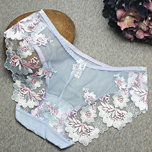 Eastlion 5 Pack Damen Spitze Stickerei Slips Schlüpfer Unterwäsche Shorts, Einheitsgröße Rosa Pear Flower