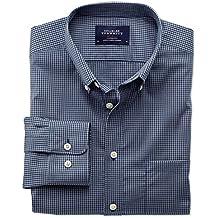 Bügelfreies Extra Slim Fit Hemd aus Popeline in blau und grau mit Karos