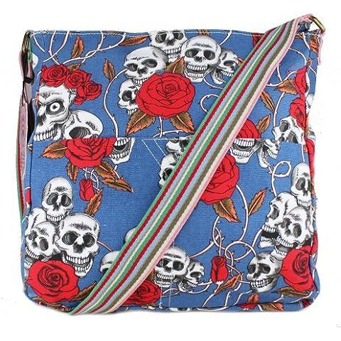 Miss Lulu-Borsa a tracolla in tela, borsa a tracolla, per la scuola, motivo: teschio con rose, Blu (blu),