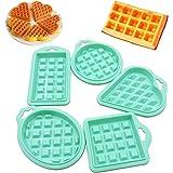 5 Piezas Molde Gofres Silicona Moldes, Herramienta de Molde de Silicona Waffle Mold, Molde de Cuadrícula Molde Mini de Silico