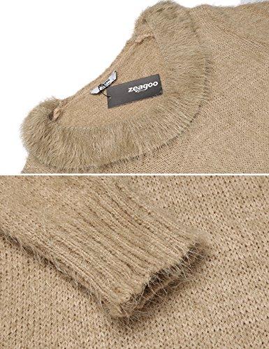 ... Damen Pullover Lang Winter Strickkleid Langarm Pulloverkleid Stretch  Winterkleider Oberteile Beige ... 0ee1d36d43