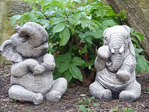 Coppia di grandi elefanti ornamenti da giardino-Stone Hand cast statue
