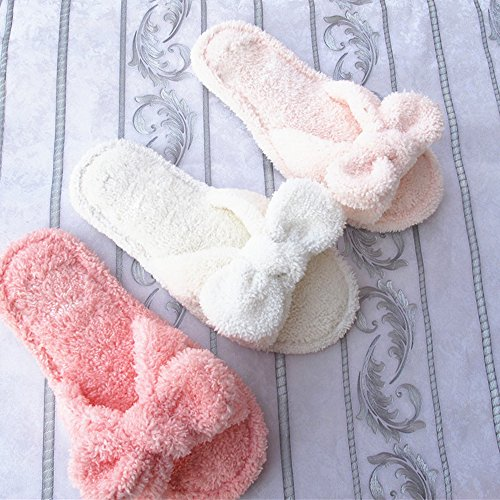 Eastlion Frauen und Mädchen Home Boden weichen bequemen Verschleiß Indoor Anti-Rutsch Baumwolle Bogen Hausschuhe Schuhe,Einheitsgröße Weinrot