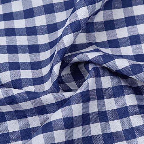 Herren Bluse,feiXIANG Herren Classic Plaid Kurzarm Hemd (XL, Rot) Blau