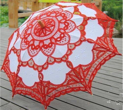 (ANKKO Westlichen Stil Romantische Lace Hochzeit Sonnenschirm Foto Requisiten Kostüm Regenschirm Tanzen Regenschirm, Rot)