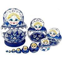ANKKO 10 Stück Holz Russische Matroschka Puppen Bemalte Puppen, Dunkelblau