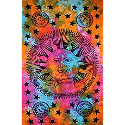 Celestial indiano Hippy Psychedelic Sun Moon Stars-Tie Dye, da appendere alla parete, motivo Mandala, Copriletto in cotone, 137,16 x 218,44 (54