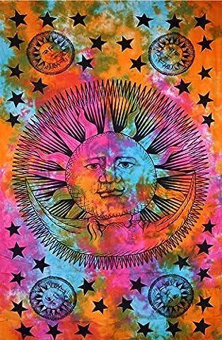 Sun moon Stars Psychedelic Celestial Tie Dye, Hippie tapisserie murale Motif Mandala, Inde, Sun moon Couvre-lit en coton Motif floral décoratif Nappe 137 x 86 cm. - Sun Moon Tie