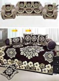 #6: Gunroor Combo of Floral Design Diwan Set and Sofa Cover Sets, Brown