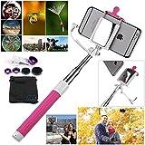 JZK® selfie stick/ Bâton selfie extensible + 3 en 1 L'objectif fish-eye à 180° + l'objectif grand angle + l'objectif Micro pour iPhone 6 Plus, 6, 5 5G 5S 5C 4S 4 4G 3GS Samsung GALAXY S2 I9100 S3 I9300 S4 I9500 S5 I9600 Note I9220 Note2 N7100 Note3 S3 mini i8190 S7562 HTC One M7 M8 Nokia LUMINA 520 620 625 630 Sony Xperia Z1 Z2 Z3 WIKO Rainbow les autres pluspart téléphones portables (rose,