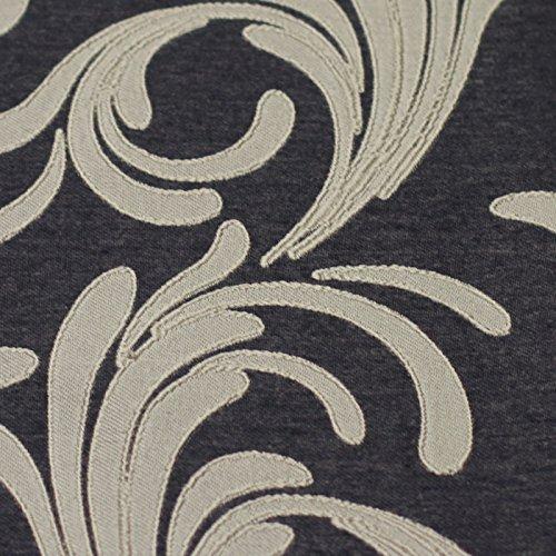 Just Contempo - Coppia di tende a righe in tessuto jacquard damascato di alta qualità, con occhiello superiore circolare, Poliestere, nero visone (beige), paio di tende 167 x 183 cm (per camera da letto)