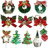 Nuluxi DIY Navidad Pastel Topper Palillos de Dientes Toppers de Navidad Pastel Inserto Toppers Decoración Práctico Pastel y Pastelería de Navidad Decoracion Adecuado para Navidad Festival y Fiesta