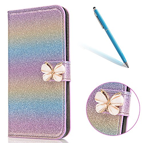 Cover pour iPhone 8Plus, CLTPY iPhone 7Plus Mignon Paillette Flash Diamond Motif Style Design avec Magnetique et Fente de Carte Full Body Wrap Back Cover Case Couvrir pour Apple iPhone 7Plus/8Plus + 1 Bleu Dégradé