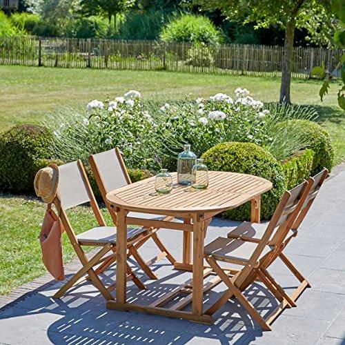 Salon de Jardin en Bois d'acacia FSC et textilène 6 à 8 Places