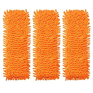 Accessotech Extendable Microfibre Floor Mop Cleaner Sweeper Wooden Laminate Tile Wet Dry (x3 Replacement Mop Heads Orange)