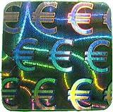 100 Stück Hologramm Siegel Euro, 10x10mm, Garantiesiegel, Sicherheitsetikett von LabelOcean (R), Hologramm-Aufkleber LO-HM102A-100