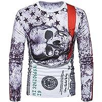 Camiseta de manga corta delgada 3D de la impresión del cráneo / verano de gran tamaño de la base de los hombres creativos de manga corta 3D / adelgazar delgado ropa de entrenamiento,Color de la fot,XL GZZ