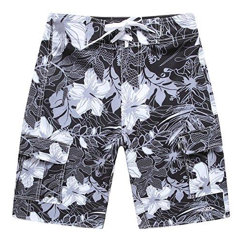 Hombres-Ropa-de-playa-Pantalones-cortos-con-bolsillo-en-negro-con-hibisco-blanco-42