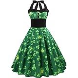 Amosfun Vestido Vintage 50S para Mujer Vestido de Trébol del Día de San Patricio Vestido sin Mangas del Trébol Verde Vestidos