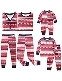 Jaysis Weihnachten Eltern-Kind Familien-Outfits Set, Mami & Ich & Daddy Schneeflocke Tops Bluse Hose Family Pyjamas Passendes Set