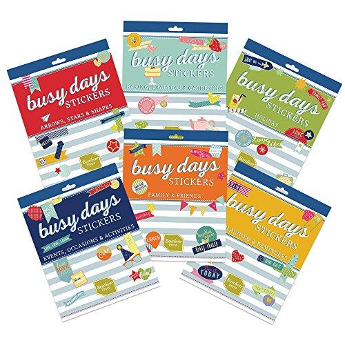 Boxclever Press Busy Days Scrapbook Sticker Set, Kalender Sticker, Bullet Journal Sticker. Insgesamt 1313 Aufkleber. 6x6-seitige Stickerhefte. Urlaub, Hobby, Freunde & Familie, Events, Formen -