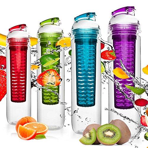 4x 800ml Trinkflaschen »FruitBottle« für Fruchtschorlen / Gemüseschorlen in den Farben Grün, Lila, Blau und Rot zum Sparpreis im 4er-Set. Perfekte Sportflasche aus spülmaschinenfesten Tritan-Material mit extra-easy Trinkverschluss