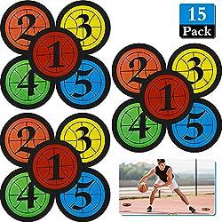 15 Stück Basketball Training Marker Anzahl Boden Stelle Marker Flache Scheiben Marker 7,5 Zoll Poly Vinyl Sport Marker