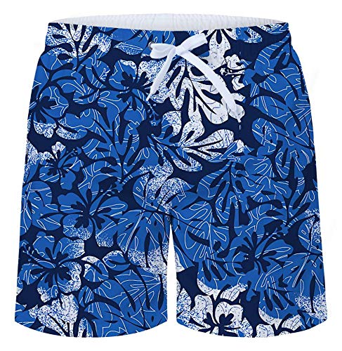 c7d0a1ad79 TUONROAD Mens Hawaiian Shorts 3D Print Blue Leaves Holiday Beach Shorts  Quick Drying Pool Swimming Trunks