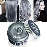 OYOTRIC Silver Grey Hair Wax, Professional Silver Ash Hair Wax, Natural Matte Hairstyle Hair Dye Wax for Party, Cosplay